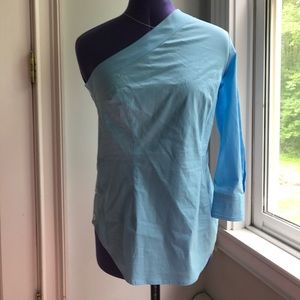 Tracey Reese Size 0 NWT  blue one shoulder blouse